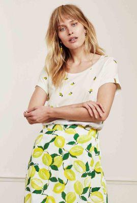 creme t-shirt met geborduurd citroen dessin kris lime t-shirt
