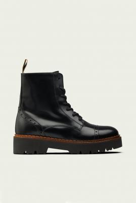 zwarte leren laarzen met ritssluiting olivine mid boot 23741492
