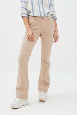 flared broek van katoenmix met stretch leila pant twill