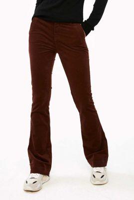 fluwelen broek met flare pijp leila velvet twill pant