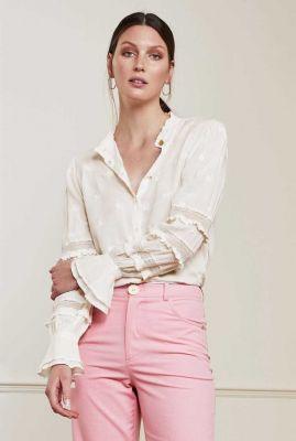 off-white blouse met geborduurde en ruffle details leo isa blouse