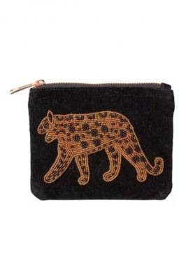 zwarte velvet portemonnee met luipaard leopard-wallet