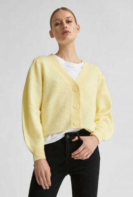 licht geel gebreid vest van wol mix lipa short cardigan 16076855
