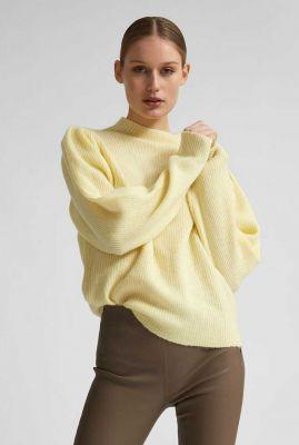 pastel geel gebreide trui van wol mix lipa t-neck 16076856