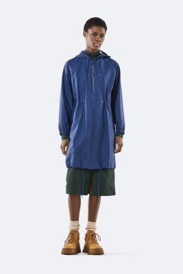 blauwe regenjas met tunnelkoord long w jacket 1278 klein blue