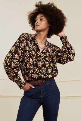 zwarte blouse met bloemen dessin en lurex detail lucky isa blouse