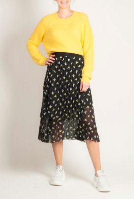 fijngebreide gele trui van mohair wolmix lulu knit