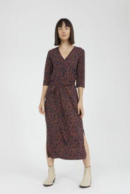 donker blauwe jurk met roest kleurige print maalin 30002596