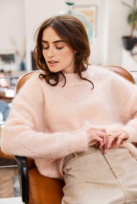 oversized trui van wol mix met ajour details lafayette