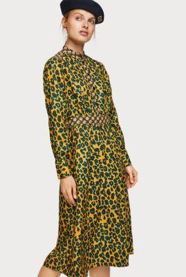 gele jurk met groene luipaard print en drukknopen 152541