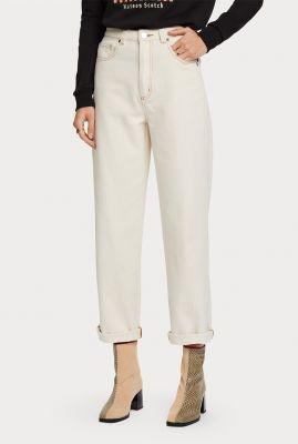 off-white katoenen jeans met rechte broekspijp 159028