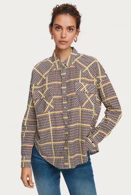 oversized western blouse met ruit dessin van bio katoenmix 157162