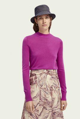 paarse wolmix trui met hoge hals en lange mouwen 160398
