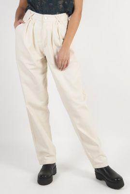 crème kleurige wijde broek met high waist en plooien Makena