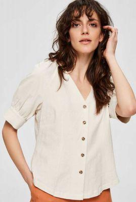 ecru kleurige blouse van linnen katoenmix malvina shirt 16073534