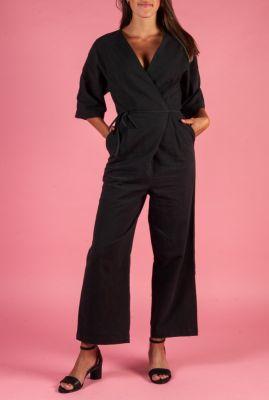 zwarte wikkel jumpsuit van linnen mix malvina jumpsuit 16073317