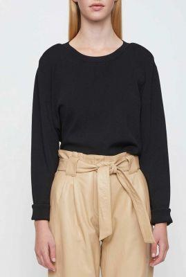 zwarte fijn gebreide trui met ronde hals manta knit