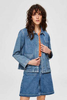blauwe oversized spijker jack met zakken martha jacket 16073312