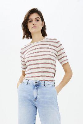 wit met rood gestreept t-shirt van linnenmix maya linen stripe