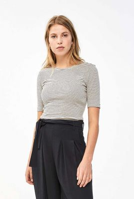 ecru kleurig gestreepte t-shirt van viscose mix maya stripe top