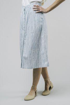 witte midi rok met blauw streep dessin camou blue skirt 2118