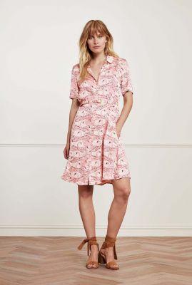 crème kleurige blouse jurk met zwanen dessin Mila Dress Swan