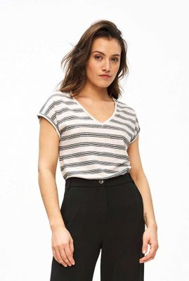 gestreept t-shirt met v-hals mila linen stripe