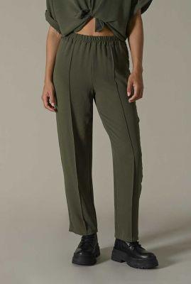 donker groene broek met elastische band mima pants