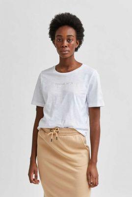 wit t-shirt met tekst opdruk mina o-neck tee 16078478