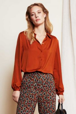blouse van gerecycled polyester Mira Solid Blouse