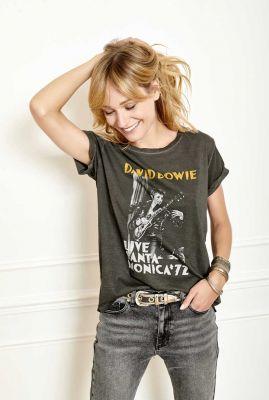 antraciet t-shirt met opdruk david bowie truth bowie t-shirt