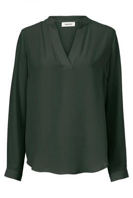 donker groene soepel vallende top met v-hals billie shirt