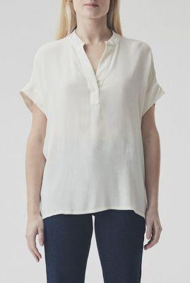 witte soepel vallende witte top met v-hals connor top