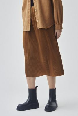 bruine midi plissé rok met elastische band helin skirt