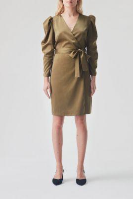 brons kleurige overslag jurk met pofmouwen fabia dress