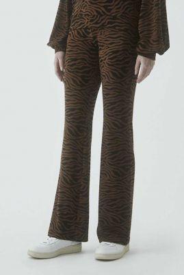 bruine broek met zwarte zebra print en rechte pijpen ming pants