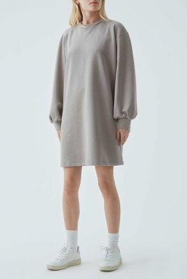 licht grijze sweat jurk met ballon mouwen holly dress