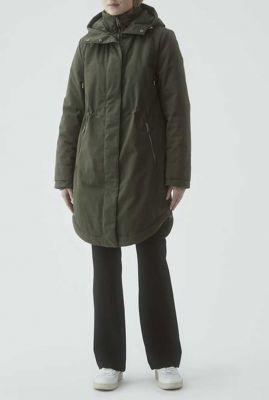 half lange jas met capuchon en tunnelkoord keller coat
