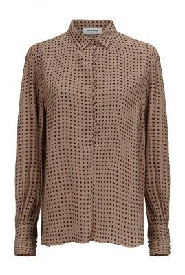 camel kleurige blouse met stippen dessin lohan print shirt