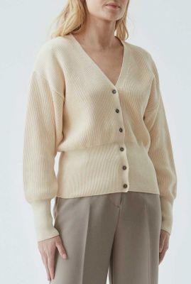off-white rib gebreid vest met brede boorden lydia cardigan