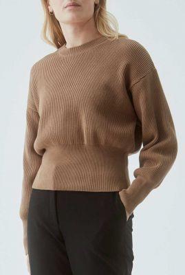 rib gebreide trui met brede elastische boorden lydia o-neck