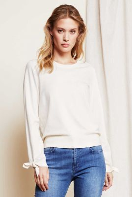crème kleurige trui met strik details Molly bow pullover