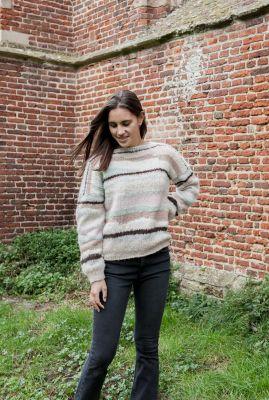pastel kleurige gebreide trui met strepen dessin lanzarote my1273