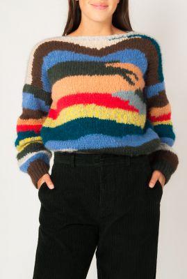handgemaakte trui van alpaca mix met ingebreid dessin my1930multi