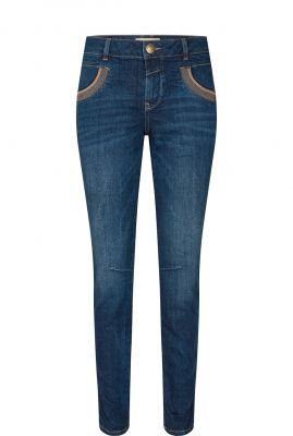 tapered fit jeans met subtiele details naomi shade blue jeans 135332
