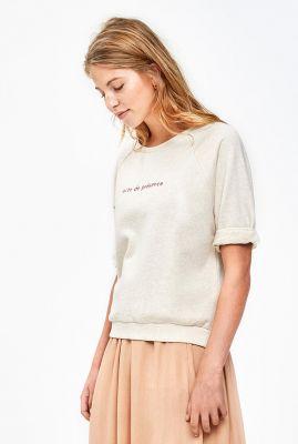 crème kleurige sweater met halflange mouw neva melee top
