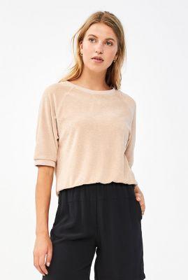 licht roze sweater van badstof stof neva slub sweater