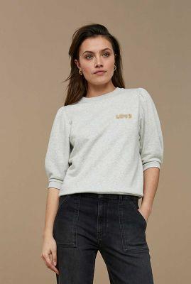 grijs gemêleerde sweater met tekstopdruk nicky sweater