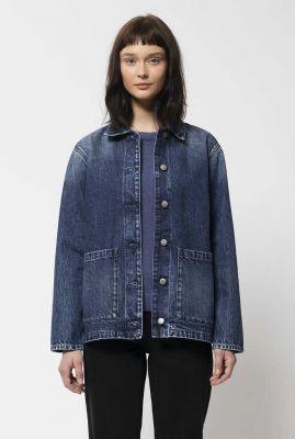 blauwe denim jas met knoopsluiting nina worker jacket 160752