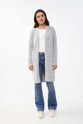 licht grijs lang vest van wolmix nisa cardigan